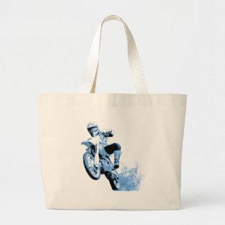 El rodar Biking de la suciedad en el fango en azul Bolsa Tela Grande