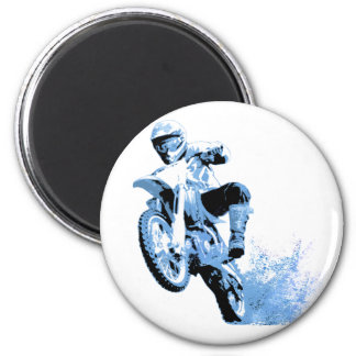 El rodar Biking de la suciedad en el fango en azul Imán Redondo 5 Cm