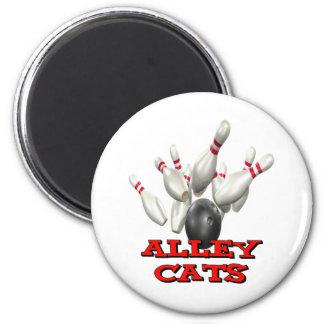 El rodar de los gatos callejeros imán redondo 5 cm