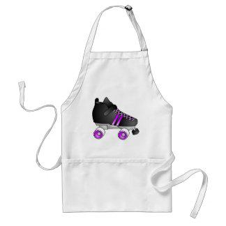 El rodillo Derby patina negro y púrpura Delantal
