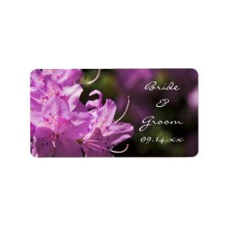 El rododendro rosado florece las etiquetas del bod etiquetas de dirección