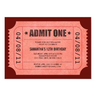 """El rojo admite invitaciones de un boleto invitación 5"""" x 7"""""""