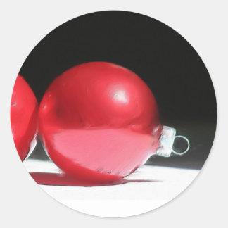 El rojo adorna a los pegatinas pegatina redonda
