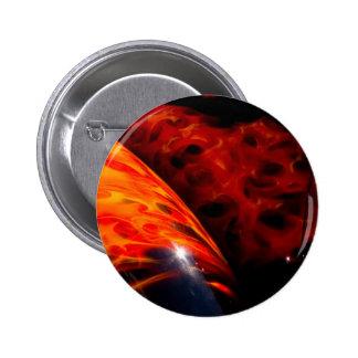El rojo anaranjado flamea el parachoque clásico de pin redondo de 2 pulgadas