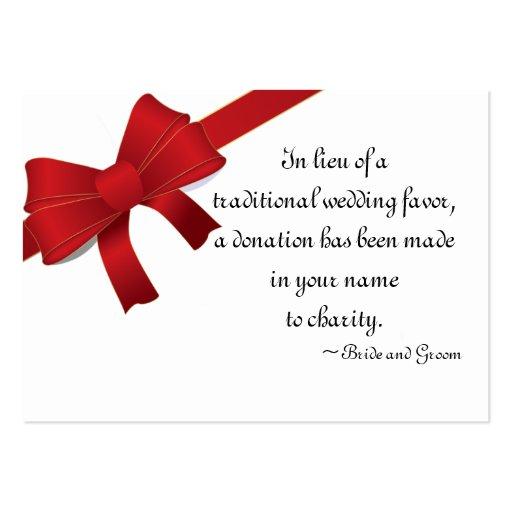 El rojo arquea la tarjeta del favor de la caridad  tarjeta de visita