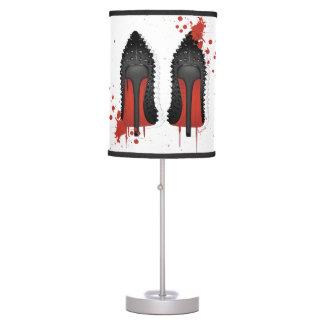 El rojo basa salpicones y goteos de los talones de lámpara de mesilla de noche