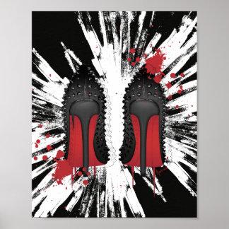 El rojo basa salpicones y goteos de los talones de póster