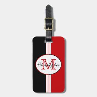 El rojo blanco negro raya el monograma etiquetas de equipaje