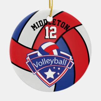 El rojo, blanco y el azul personalizan voleibol adorno navideño redondo de cerámica