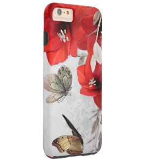 el rojo bonito florece la caja de las mariposas funda de iPhone 6 plus tough
