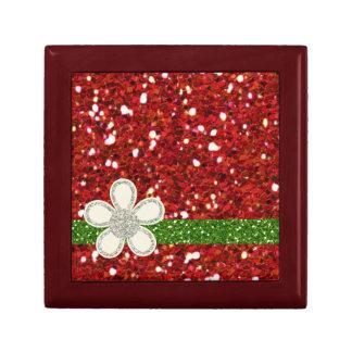 El rojo brilla pequeña teja Giftbox Joyero Cuadrado Pequeño