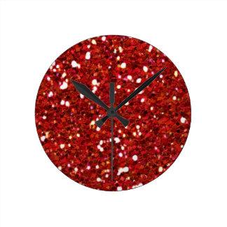 El rojo brilla reloj de pared