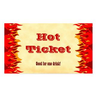 El rojo caliente del boleto del acontecimiento tarjetas de visita