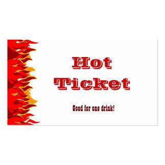 El rojo caliente del boleto flamea la plantilla de tarjetas de visita