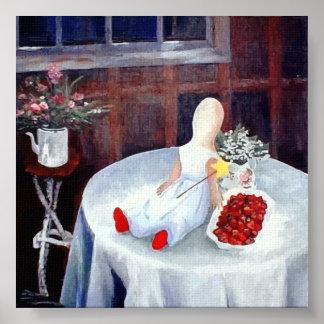 El rojo calza las fresas del n de Elizabeth Póster