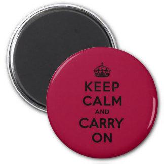 El rojo carmesí guarda calma y continúa (el negro) imán redondo 5 cm