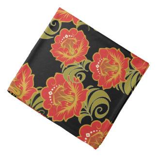El rojo chino abstracto florece 2 - pañuelo bandana