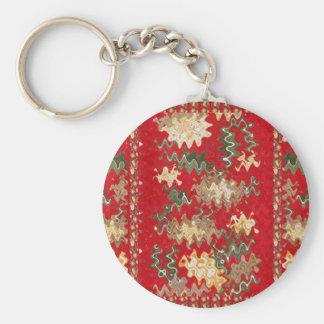 El rojo chino oriental agita texturas de seda de llavero redondo tipo pin