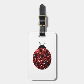El rojo chispeante hermoso chispea mariquita de la etiquetas para maletas