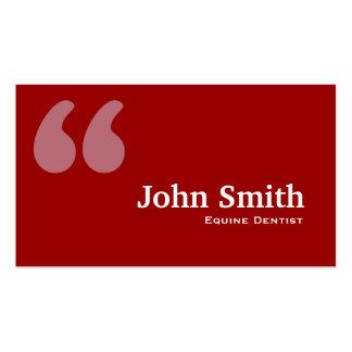 El rojo cita la tarjeta de visita equina del denti