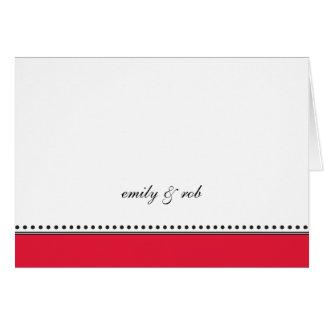 El rojo clásico con negro puntea Notecard Tarjetas