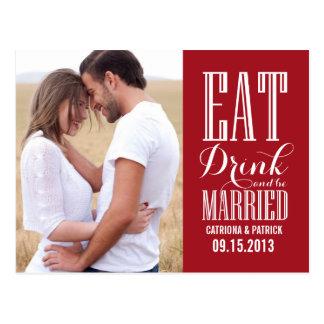 El rojo come la bebida y sea reserva casada la tarjetas postales