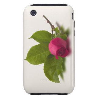 El rojo de Alec rojo del capullo de rosa iPhone 3 Tough Carcasas