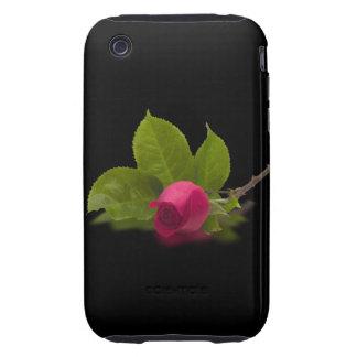 El rojo de Alec rojo del capullo de rosa Tough iPhone 3 Coberturas