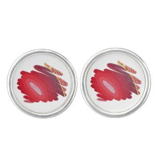 El rojo de Chakra de la pasión tuerce en espiral Mancuernillas