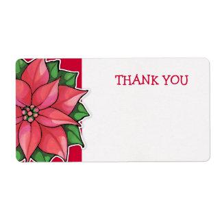 El rojo de la alegría del Poinsettia le agradece Etiqueta De Envío