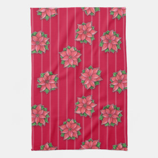 El rojo de la alegría del Poinsettia raya la toall Toalla
