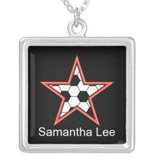 el rojo de la estrella de fútbol personaliza añade colgante cuadrado