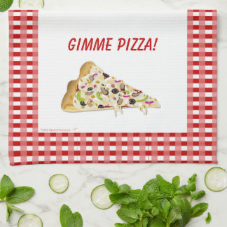 El rojo de la rebanada de la pizza de la pizza de  toalla de mano