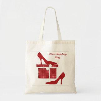 El rojo de moda se inclina hacer compras/la bolsa