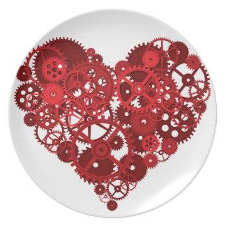 El rojo de Steampunk adapta el corazón Plato De Cena