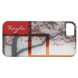 El rojo deja la foto del árbol del otoño iPhone 5 carcasas