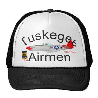 El rojo del aviador P-51 de Tuskegee ata el mustan Gorros Bordados