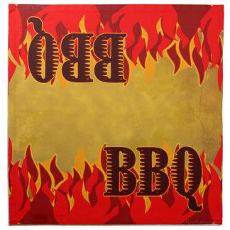 El rojo del Bbq flamea servilletas del paño