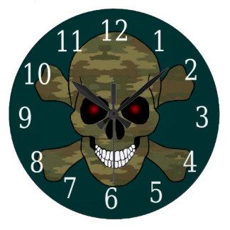 El rojo del camuflaje observa el cráneo y el reloj