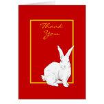 El rojo del conejo le agradece tarjeta de nota