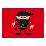 El rojo del guerrero de Ninja del dibujo animado Tarjeta Pequeña