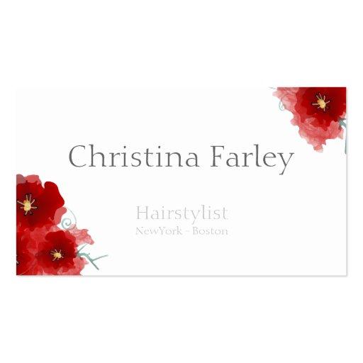 El rojo del Hairstylist florece la información gri Tarjetas De Visita