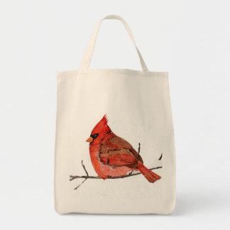 El rojo del invierno bolsa tela para la compra
