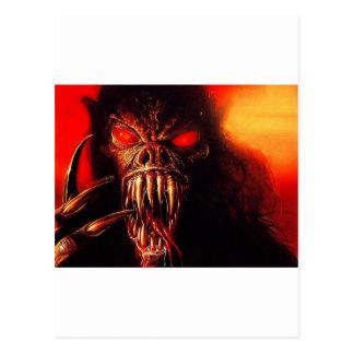 el rojo del monstruo observa con los colmillos tarjetas postales