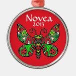 ¡El ROJO del ornamento de la mariposa *customize! Adorno Navideño Redondo De Metal