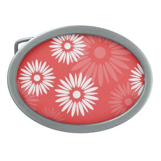 El rojo del verano florece la hebilla del cinturón hebillas de cinturon ovales