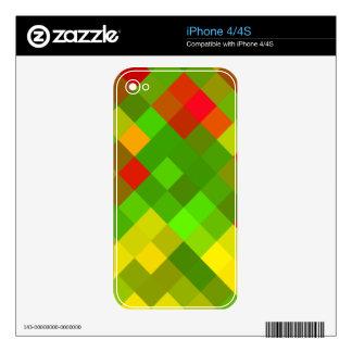 El rojo del verde amarillo modela color de los calcomanías para iPhone 4S