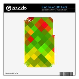 El rojo del verde amarillo modela color de los iPod touch 4G skin