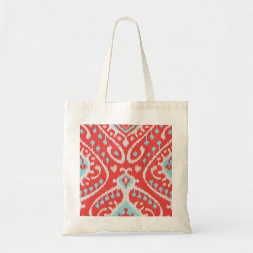 El rojo elegante elegante y el ikat tribal de la t bolsa tela barata