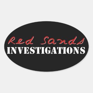 El rojo enarena a los pegatinas del logotipo colcomanias de oval